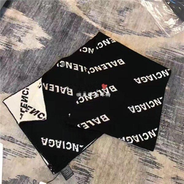 Mann Schal Herbst und Winter zeigen Europa Paris Modelle schwarzen und weißen Buchstaben zweifarbige doppelseitige Gezeiten Marke Frau Schals