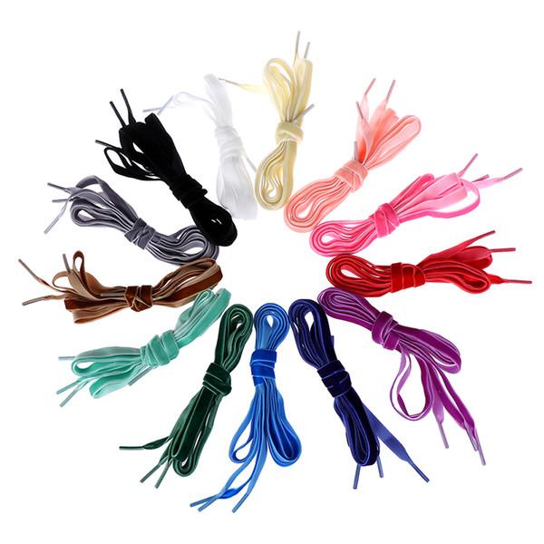 120cm 1pair fashion velvet shoelace women trendy boots shoelaces ribbon one side multi color athletic sports shoe lace strings