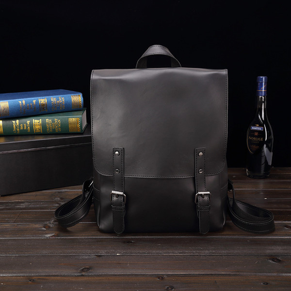 Vintage Fashion Leather Backpack Bag Men School Shoulder Bags for Teenage Boys Black Coffee Travel Rucksack Male Casual Laptop Back Pack