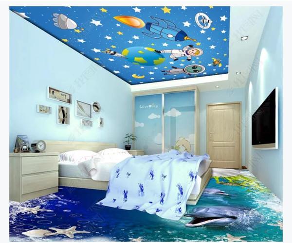 3D zenith mural custom photo ceiling wallpaper Aerospace space universe technology Galaxy cartoon anime children ceiling zenith mural