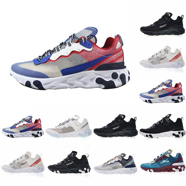 2019 Luxury Fashion Designer React Element 87 Mens Running 87 Shoes Classic Trainers Sport Sneakers Women Brand Outdoor shoes Race Runners