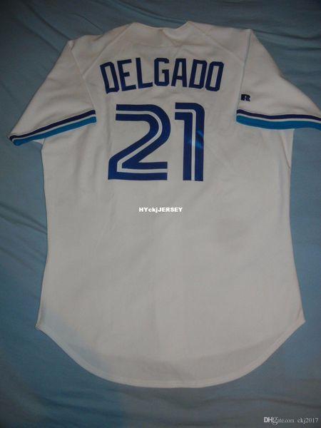 Дешевые ретро Top Russell Athletic # 21 КАРЛОС DELGADO Торонто Rookie Джерси 44 96 Mens прошитой бейсбола трикотажных изделий