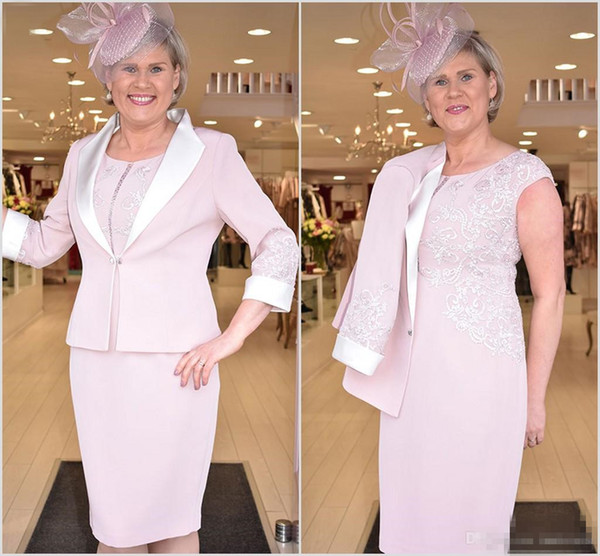 Pink 2019 Mother of the Bride Groom Dresses With Jacket Lace Plus Size Wedding Guest Dress Custom Made Women Wear Evening Gowns