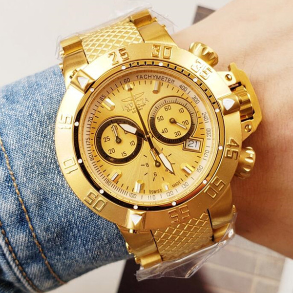Top quality cosc original INVICTA brand 18k Gold Chronograph Luminous Complete Calendar Shock Resistant Men's Quartz watch+original box