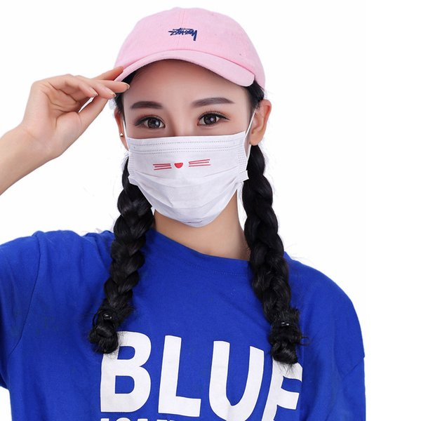 Jetable poussière bouche masque facial femmes crème solaire anti-poussière Masques respirante Cartoon Outils Bouche couverture 3styles RRA1428