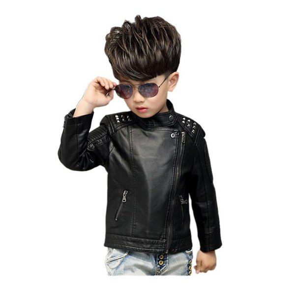 classic boy leather jacket solid gentleman style zipper coat jacket for 2-16years boys kids children fashion faux leather jacket clothing