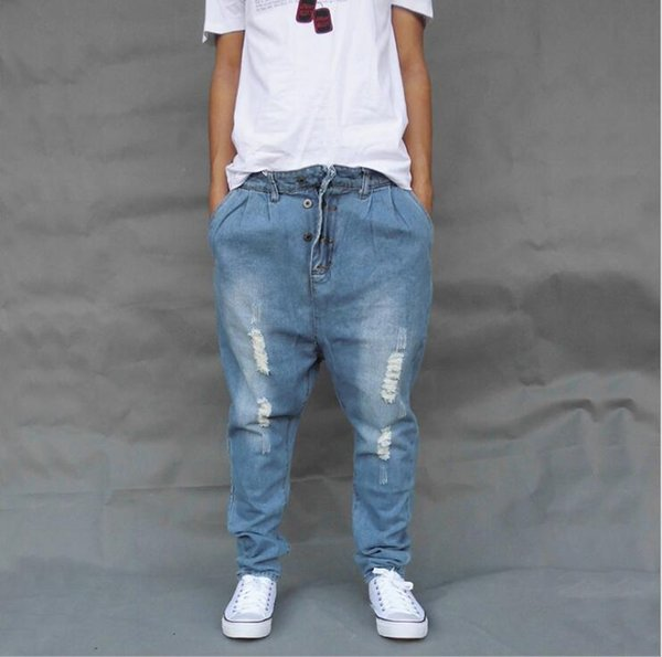 Loose Harlan jeans plus fat XL skate pants trend men's feet hip hop pants street dance Drawstring Trousers Plus Size Joggers