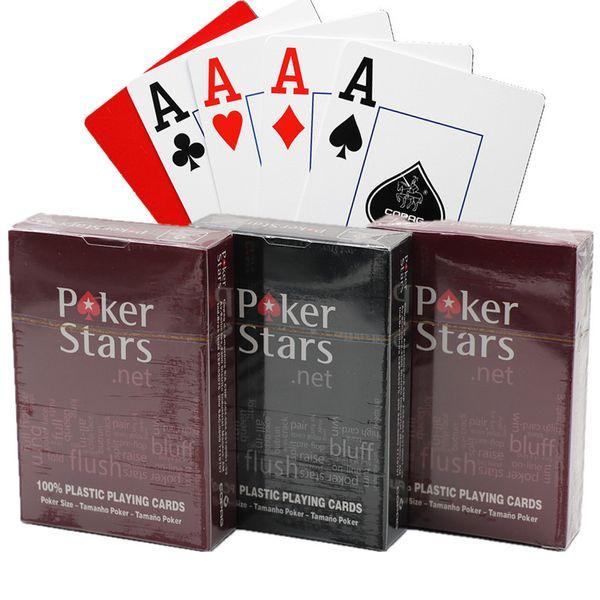 Jeu de cartes à jouer en plastique Texas Hold'em cartes de poker imperméable et terne polonais Poker Stars jeux de société SC134