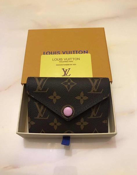 Nuevas mujeres botón del diseñador corto carteras embragues ocasionales de moda monedero cero estilo europeo de la señora de las mujeres con la caja