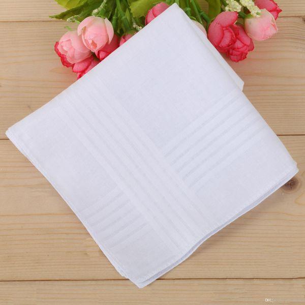 40 * 40 CM 100% algodón mesa de satén masculina tira de pañuelos remolcadores pañuelo cuadrado más blanco Bolsos baratos pañuelos envío gratis