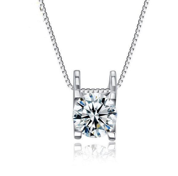 Sterling Silver Necklace Pendant Zircon Diamond Solitaire Wedding Pendant Jewelry for Women 18K Gold Plated