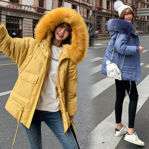 hapedy women winter jackets 2019 casual thick warm big fur hooded parkas coat solid winter sintepon jacket female outwear coat, Black