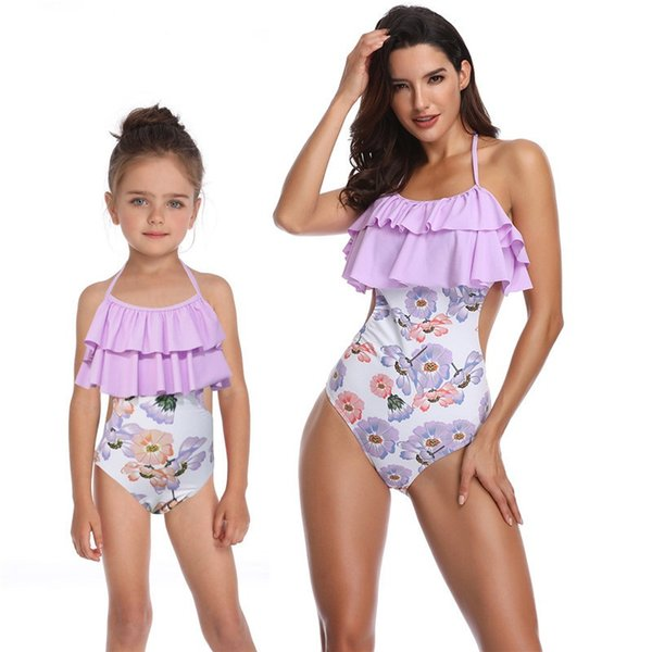 72ef546aea2 Fashion Matching Family Bathing Suits Mother Girl Bikini Swimsuit For Mom  and Daughter Swimsuits Female Children