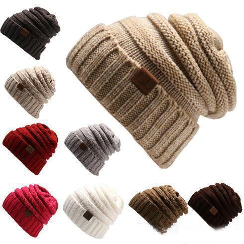 Bonnet en maille Chapeau CC Bonnet Femmes Hiver chaud style simple Chunky doux stretch Hommes Bonnet tricoté Skully Chapeaux 17 couleurs FA3165