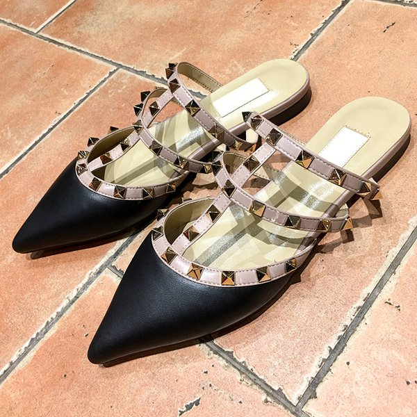 New belt designer flat shoes patent leather fashion rivets sandals ladies pointed dress Valentine's wedding Casual womens shoes
