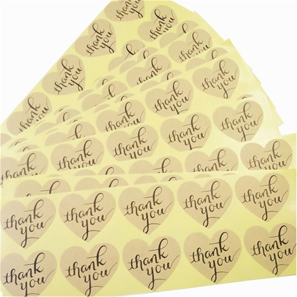 500 Pcs/lot Kraft Paper Seal Label Sticker Heart-shaped Thank You Tag Gift Tag Wedding Party DIY Gift Packing Paper Sticker