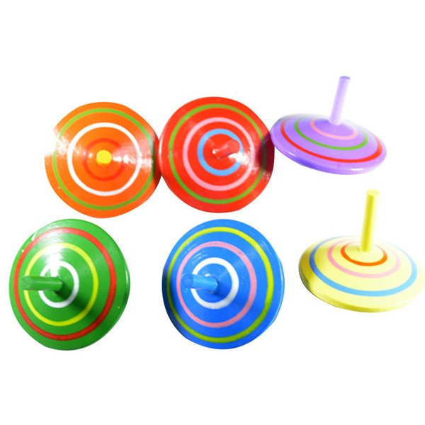Wholesale- Classic Wood Gyro Toy Multicolor Mini Cartoon Wooden Spinning Top Toy Learning Educational Toys for Kids Kindergarten toys