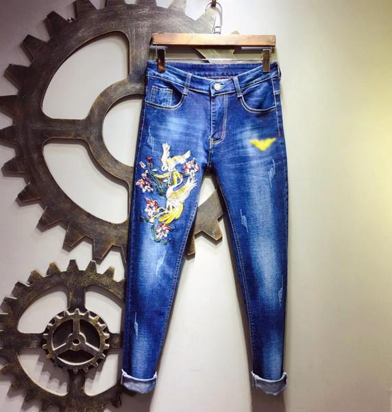 Бренд мужские джинсы emporios дизайнер новые джинсы отверстие роскошное качество вышивать орел мужские брюки мода случайные девять брюки повседневные брюки