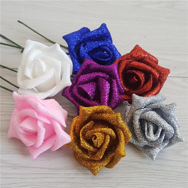 Whole Gold Pollen PE Rose Imitate Rose Cartoon Bundle Diy Golden Pollen Valentine's Day Bundle Bright Pink Rose WL584
