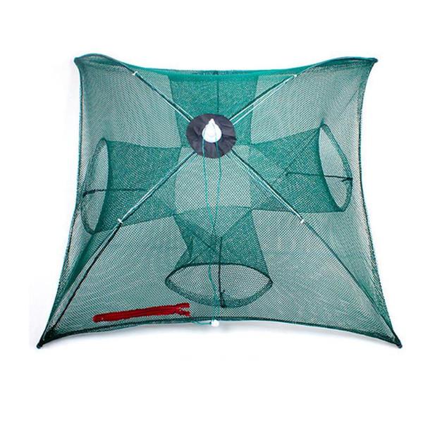 Otomatik katlama taraflı balık ağı karides kafes Yengeç Balık Trap Cast Net 4 6 8 12 16 20holes şemsiyeyi