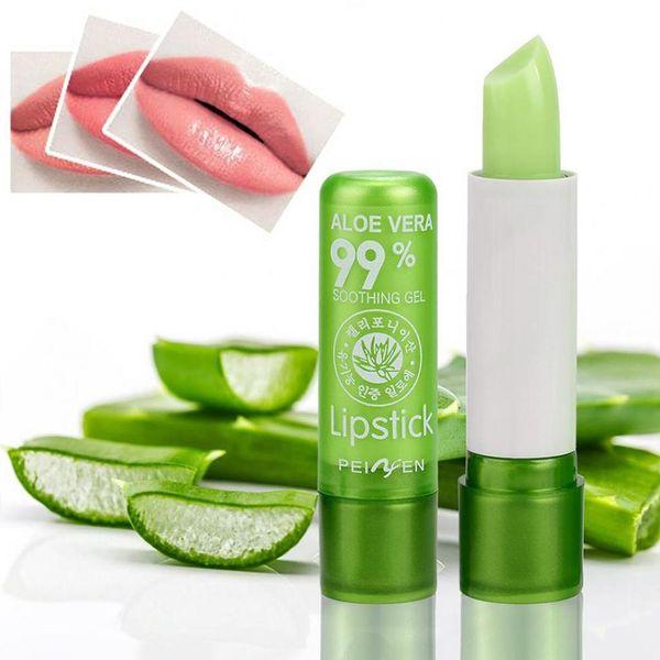 Women Girls Aloe Vera Moist Lipstick Temperature Color Change Lady Lip Moisturizer Jelly Taint Cream
