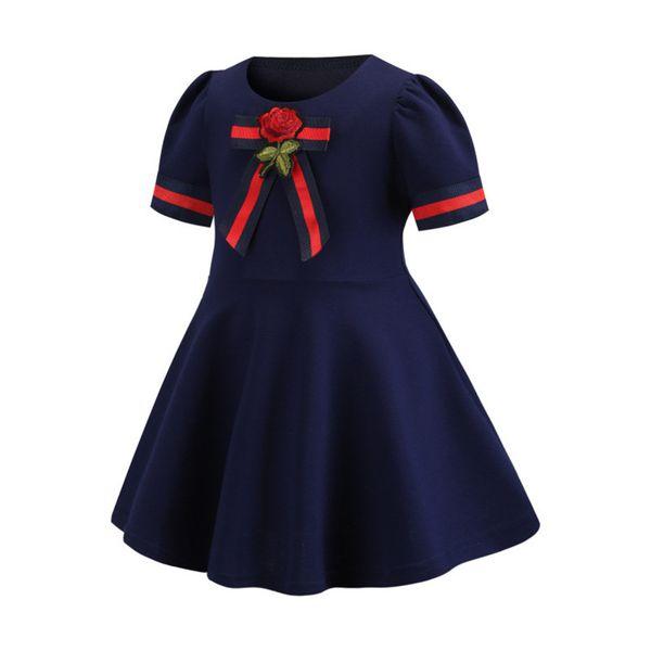2019 Frühling und Sommer neue Bogen Stickerei europäischen und amerikanischen kleinen Duft Mädchen College Kleid Kinder Kurzarm Kleidung