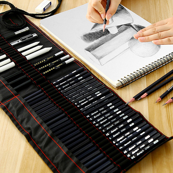 top popular Marie's sketch pencil set beginner 2b4b adult painting tools pen sketch pen children pencil drawing bag art supplies SH190919 2021