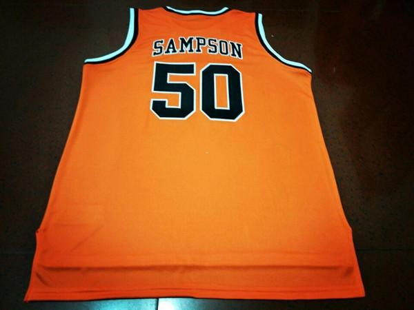 Männer orange # 50 Ralph Sampson Virginia Tech Universität Hokies College Jersey Größe S-4XL oder anpassen beliebig Anzahl genäht Jersey
