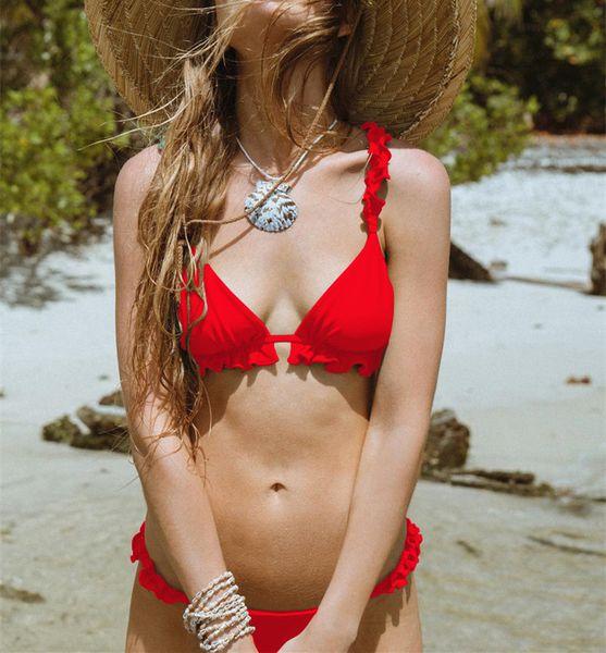 Micro Bikini Set 2019 Novas Mulheres Swimwear Cor Pura Push Up Acolchoado Maiô Biquini Mulheres Maiô Verão Beachwear