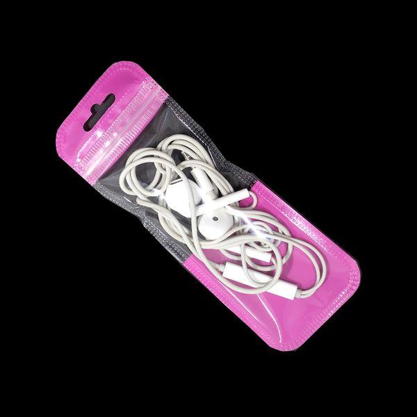 Pembe Kendinden Yapışmalı Zip Kilit Çanta Asmak Delik Elektronik Aksesuarları Takı Kolye Depolama Torbalar Şeffaf Pencere Plastik Paket Çanta
