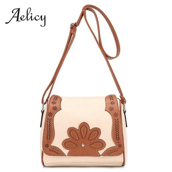 Aelicy Women Leather Retro Crossbody Bag Flip Messenger Shoulder Bag Ladies Vintage fashion hollow Pattern Handbag