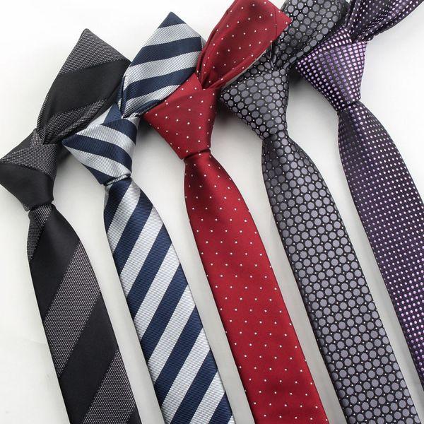 Fashion striped men's tie 5cm narrow version tie 1200 needle polyester jacquard version of thin tie custom wholesale