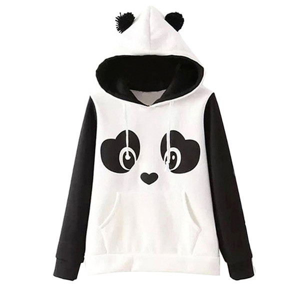 2019 Hoodie Panda Ear sudadera kawaii Sweatshirt Women Winter Warm White Hoodies Sweatshirts With Front Pocket T6