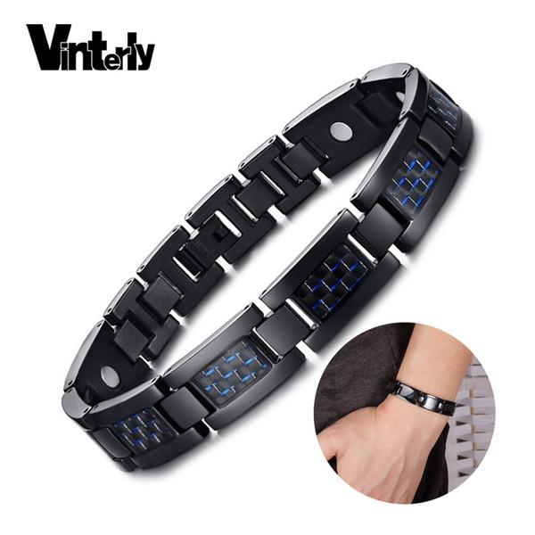 vinterly blue carbon fiber bracelet male hand chain energy germanium magnetic bracelet men stainless steel bracelets bangles
