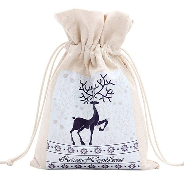 Unique Design Large Christmas Gift Bag Home Party Decoration Vintage Drawstring Canvas Dinner Table Gift Bag Supplies 10#