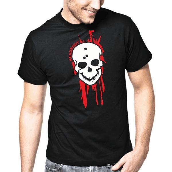 T-shirt Homme 2018 Nouveaux Tops Décontractés À Manches Courtes Tee Tête Headshot Ego Shooter Horror Gamer Print T Shirt O-Neck Court