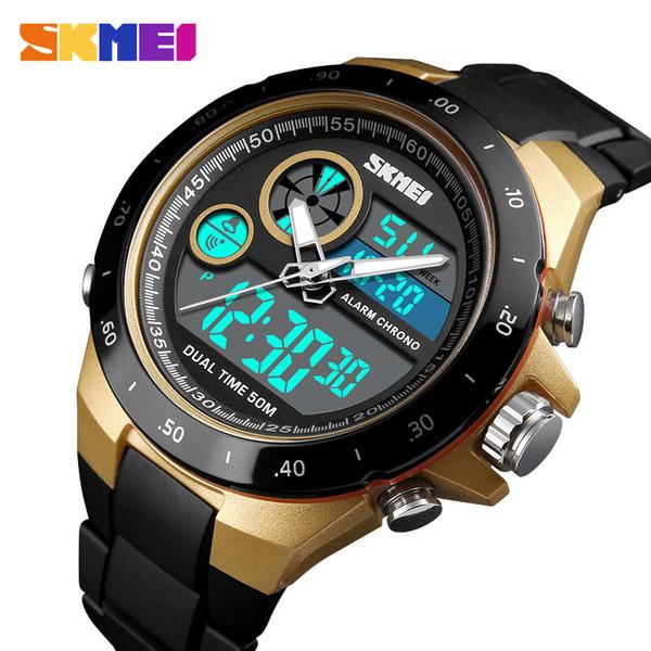 wholesale Outdoor Sports Watch Men Fashion Digital Wristwatch Dual Display PU Strap Waterproof Clock Male Relogio Masculino