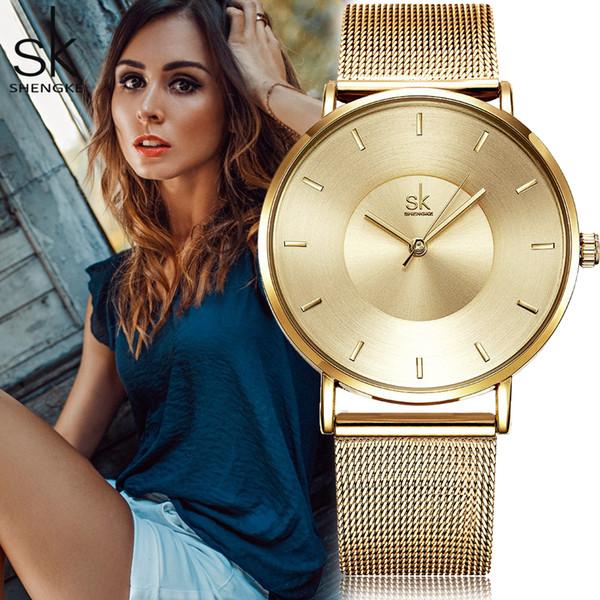 Shengke SK Fashion Black Women Watch in acciaio inossidabile ultra sottile orologio al quarzo donna elegante abito da donna Montre Femme regalo