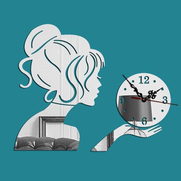 best selling Acrylic beauty girl mirror wall clock living room bedroom simple fashion creative wall clock