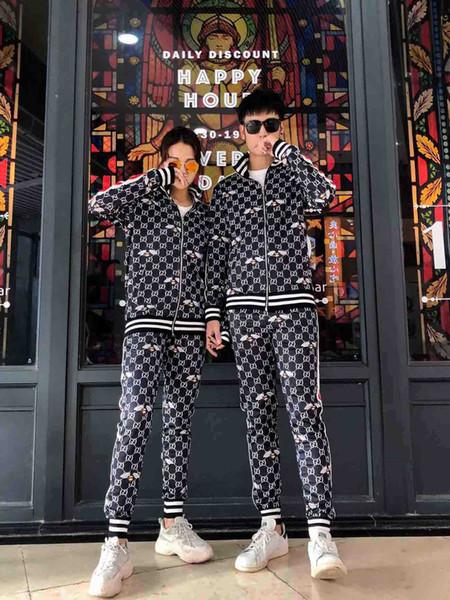 2020 Дизайн Tracksuit Мужчины Марка Пот Костюмы см Осень Мужские Роскошные костюмы Jogger костюмы куртки Брюки Sets спортивный костюм печати мужчин хлопка
