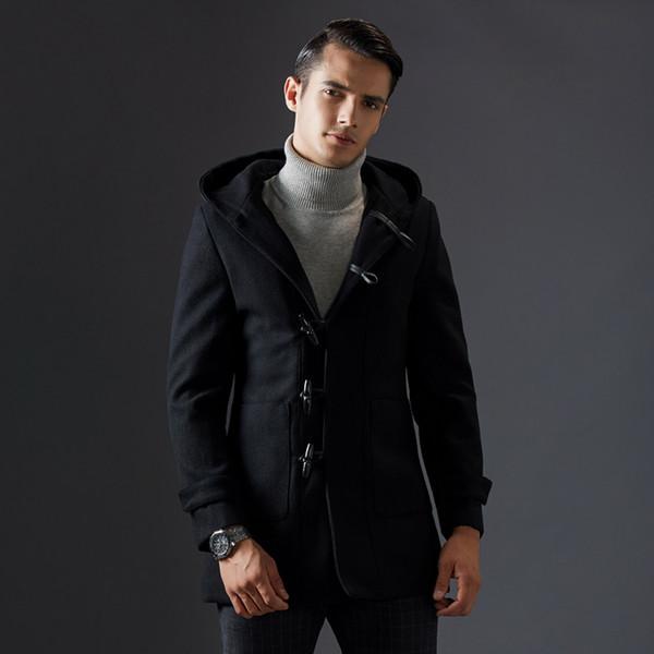Automne Manteau d'hiver British Style Laine hommes Bouton New Corne Manteau long Trench Marque Vêtements de haute qualité à capuchon Woollen hommes