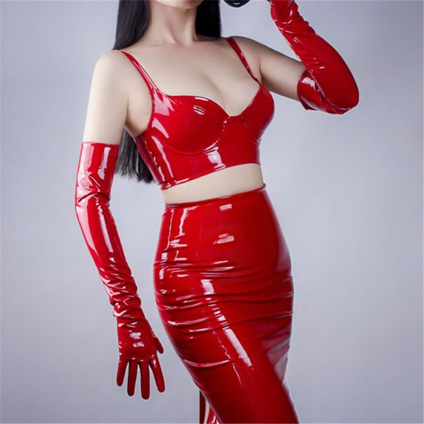 Women Bright Leather Gloves PU Simulation Patent Leather Red 60CM Unlined Sexy Rock And Roll 3-TB17