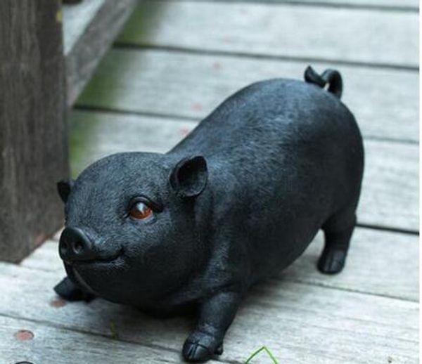 Украшение сада украшения внутреннего двора творческие подарки миниатюрные модели свиньи смолы ремесла моделирование животных свиньи портреты статуя