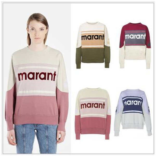 New Marant Sweatshirt Color Matching Vintage O-Neck Long Sleeve Street Pullover Sweatshirts Fashion Spring Summer Sweater Shirt HFHLWY032