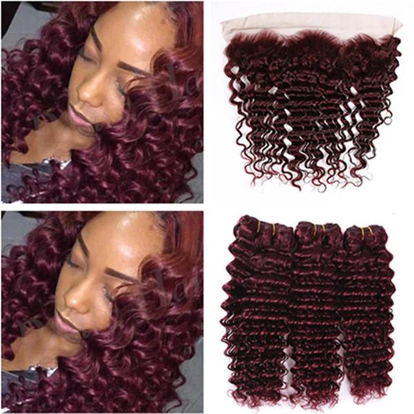 # 99J Weinrot Brasilianische Haarbündel mit Frontalverschluss Deep Wave Curly Burgund Menschliches Haar Spinnt 3 Bundles mit Spitze Frontal 13x4