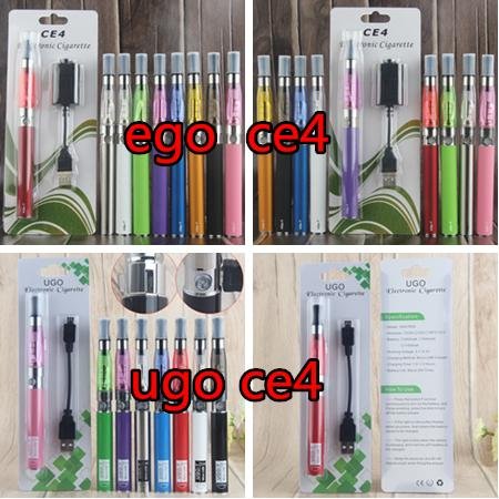 eGo T CE4 Single Vaporizer starter Blister Pack Electronic Cigarette Kits with 650mAh 900 1100 mAh UGO Micro USB Evod Pass Through Battery
