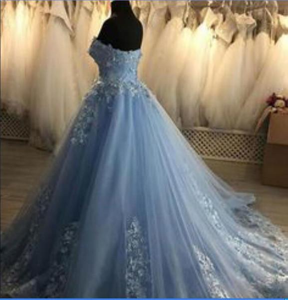 Evening dress Yousef aljasmi Labourjoisie Zuhair muradLong Dress Ball Gown Strapless Sleeveless Light Sky Blue Tulle Appliqued James_paul