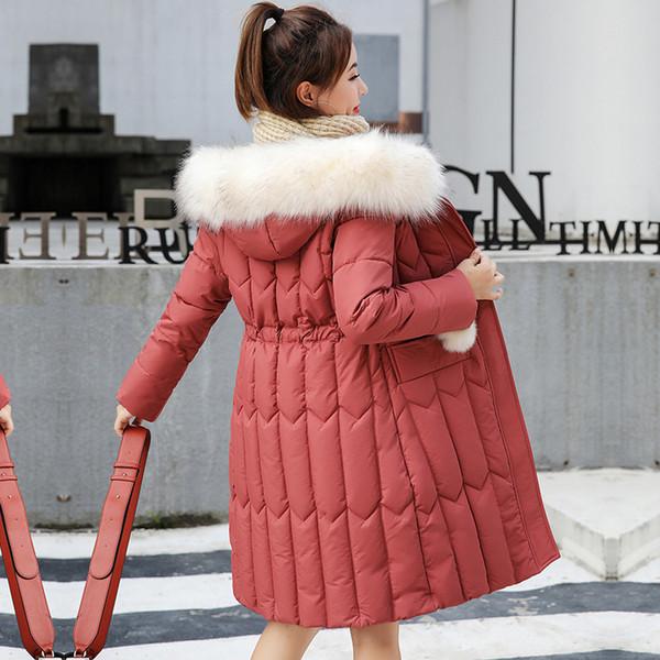 Donne invernale con cappuccio cappotti Plus Size Spesso Big pelliccia Donne lungo Giù parka Slim giacca invernale del nuovo cotone imbottito Giubbotti per la donna
