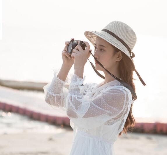 Chapeau de paille femme été petit et frais parasol pour protéger le chapeau de soleil de la jeunesse belle version coréenne de pêcheur joker