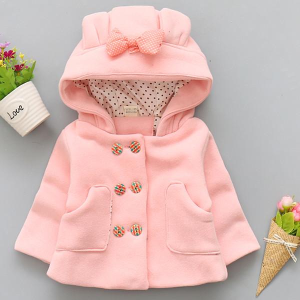 2018 cappotto ragazze bambino inverno giacche con cappuccio bowknot neonate abbigliamento infantile sveglia del bambino di modo di autunno capispalla spessore